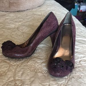 Purple Heels with Zipper Rose Accents